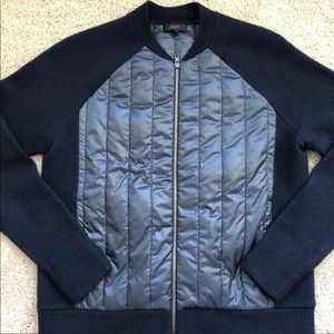 J. Crew Boiled Wool Puffer Bomber Jacket Navy